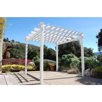 Princeworth 7 ft. 5 in. x 7 ft. 5 in. White Vinyl Pergola