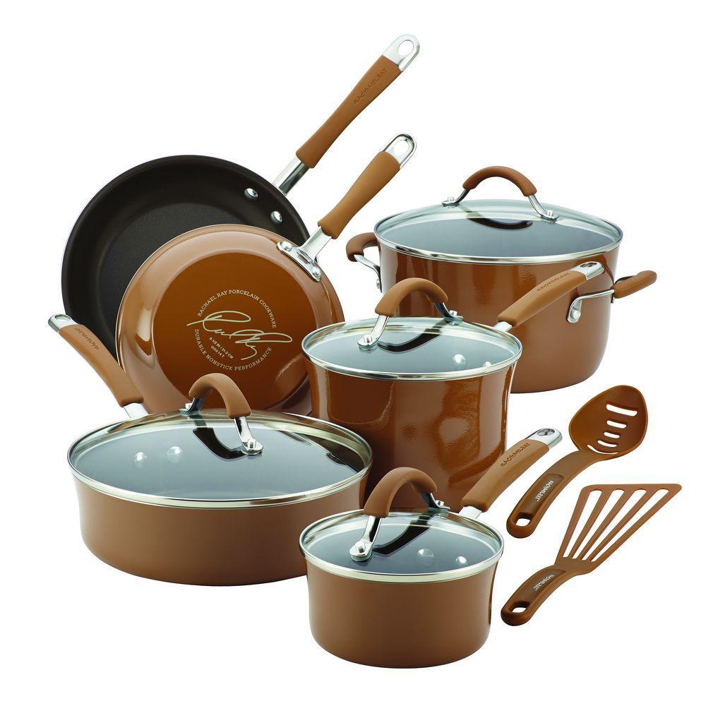 Rachael Ray Cucina 12-Piece Mushroom Brown Cookware Set with Lids