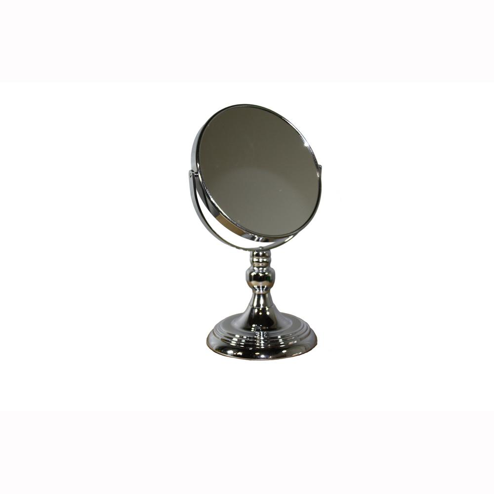 ORE International 12.25 in. Silver Chrome Round 5x Magnify Makeup Mirror