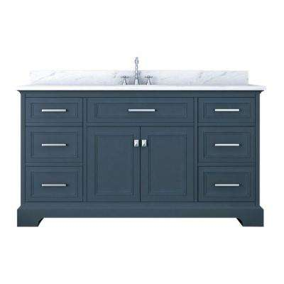 Yorkshire 61 in. W x 22 in. D Single Bath Vanity in Gray with Marble Vanity Top in White with White Basin