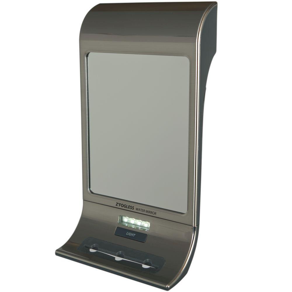 Fogless 6 in. W x 11 in. H Framed Rectangular LED Light Bathroom Vanity Mirror in Stainless Steel