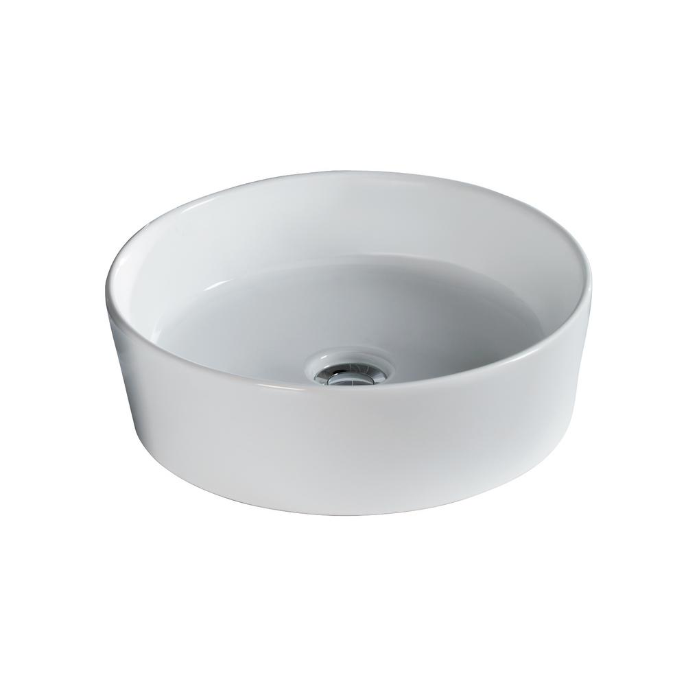 Harmony 16-1/2 in. Round Vessel Sink in White