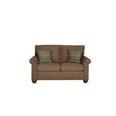 Aubrey 38 in. Mocha Polyester 2-Seater Loveseat with Round Arms