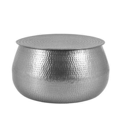 Calluna Round Silver Metal Coffee Table with Storage and Hammered Finish (30 in. W x 15.5 in. H)