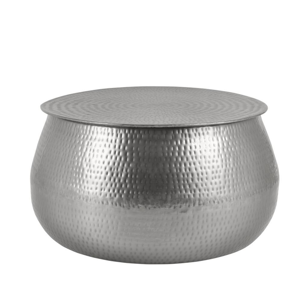 Calluna 31 in. Silver Medium Round Metal Coffee Table with Lift Top