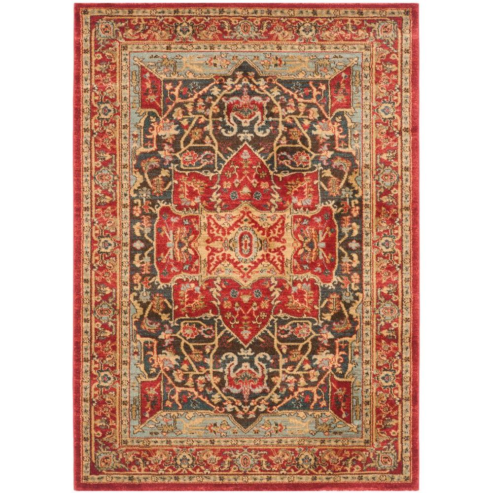 Safavieh Himalaya Turquoise 4 Ft X 4 Ft Round Area Rug: Safavieh Mahal Red 4 Ft. X 5 Ft. 7 In. Area Rug-MAH625D-4