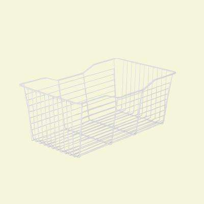23.25 in. x 9.5 in. White Pull-Out Wire Basket