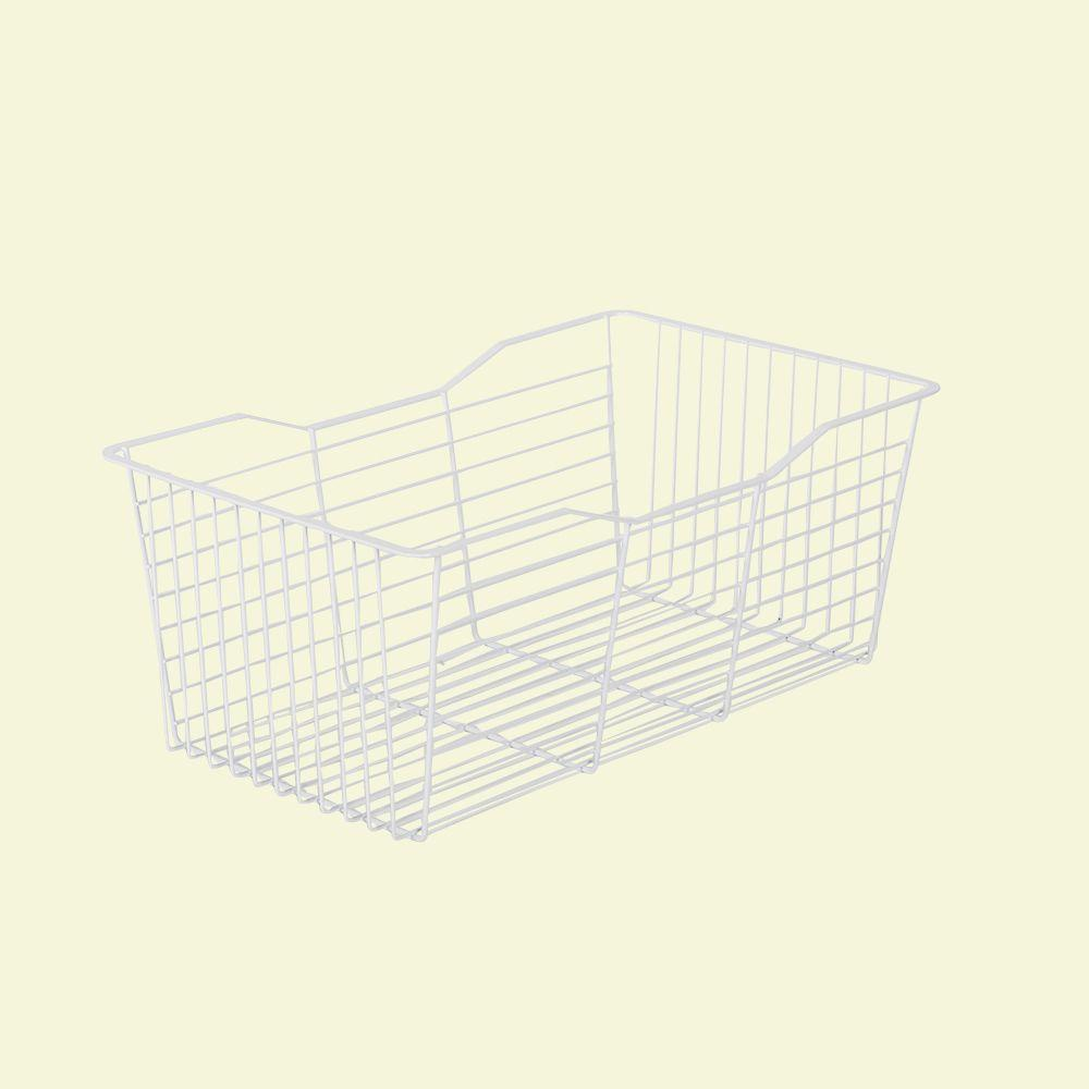 23.6 in.W x 9.65 in. H White Pull-Out Wire Basket
