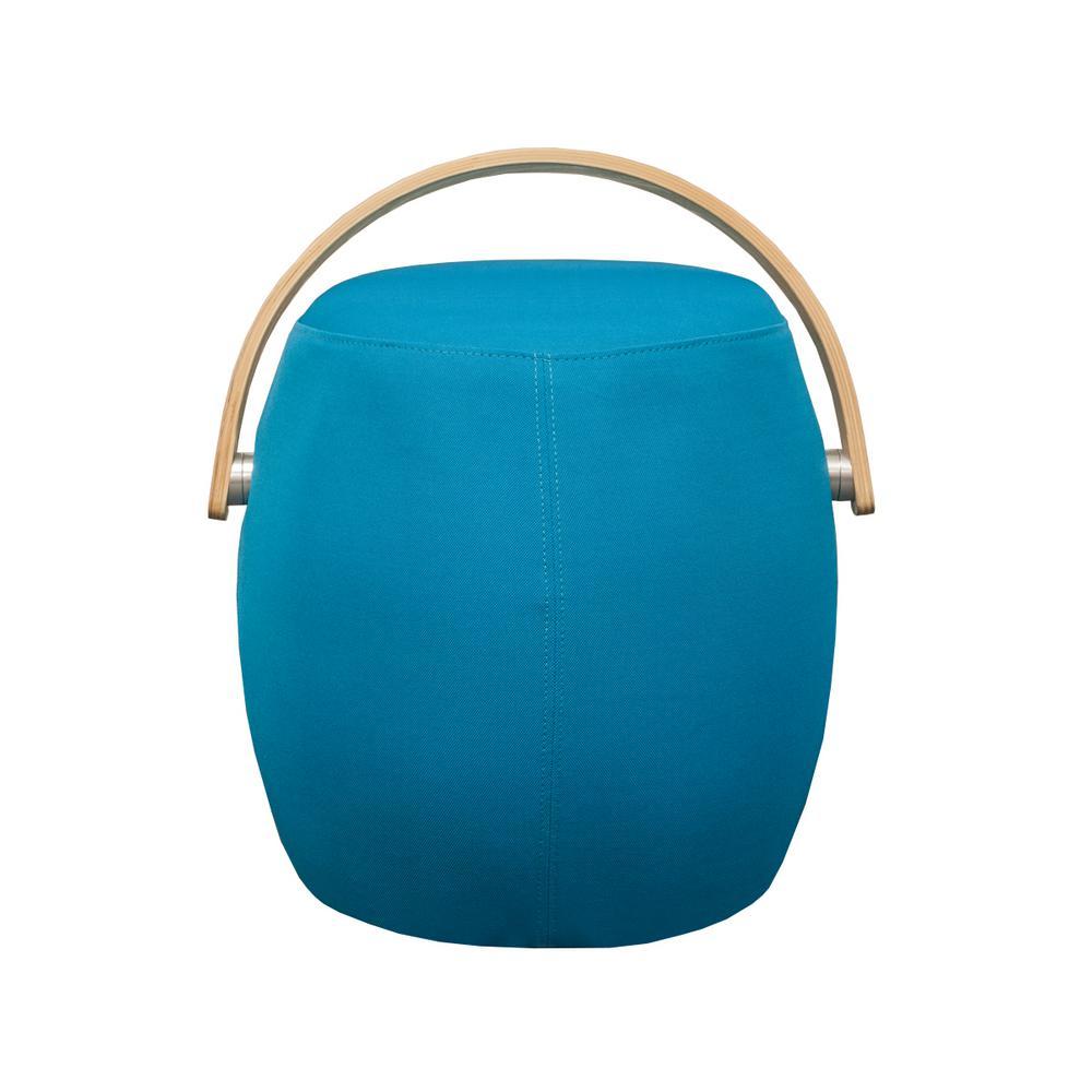 Bucket Blue Fabric Ottoman Stool