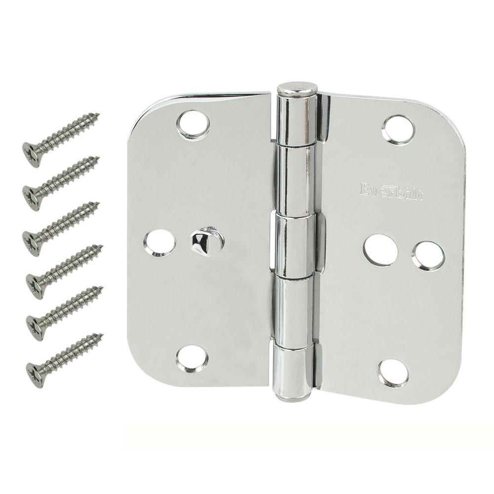 Everbilt 3-1/2 in. Chrome 5/8 in. Radius Security  sc 1 st  The Home Depot & Everbilt 3-1/2 in. Chrome 5/8 in. Radius Security Door Hinges Value ...