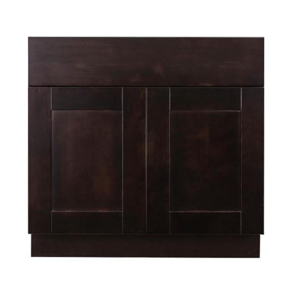 Anchester Assembled 36 in. x 21 in. x 33 in. Bath Vanity Sink Base Cabinet with 2 Doors in Dark Espresso Finish