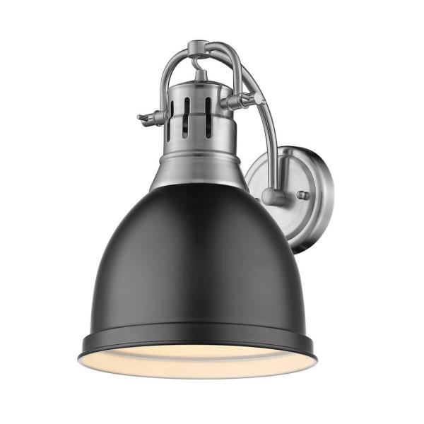 Duncan Collection 1-Light Pewter Sconce with Matte Black Shade