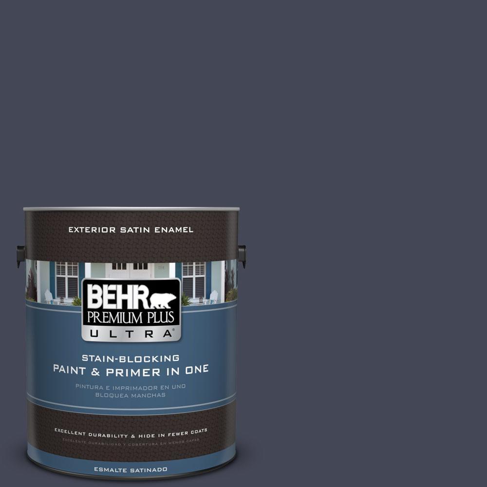 BEHR Premium Plus Ultra 1-gal. #PPU15-19 Black Sapphire Satin Enamel Exterior Paint