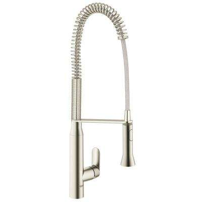 K7 Semi-Pro Single-Handle Pull-Down Sprayer Kitchen Faucet in Supersteel