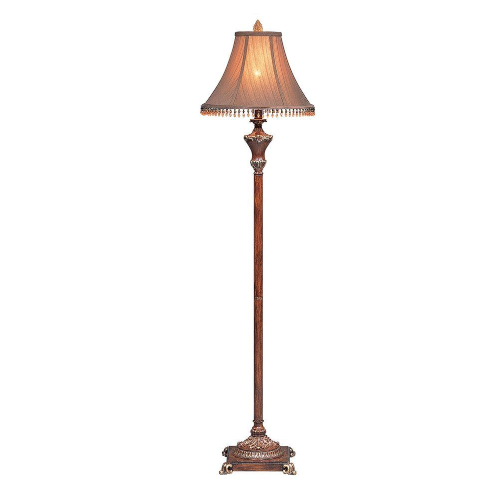 Ok Lighting 31 In Resemble Wooden Color Table Lamp