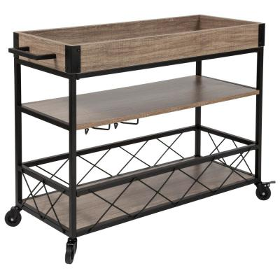 Light Oak Bar Cart With Wheels