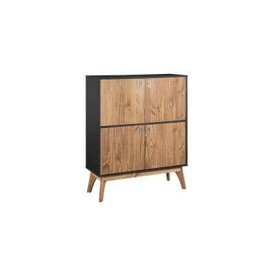 Jackie 49.4 in. High Dark Grey and Natural Wood Dresser