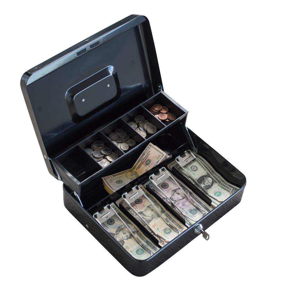 BUFFALO Locking 2-Tiered Cash Box Safe with Steel Construction, Black was $48.14 now $27.0 (44.0% off)