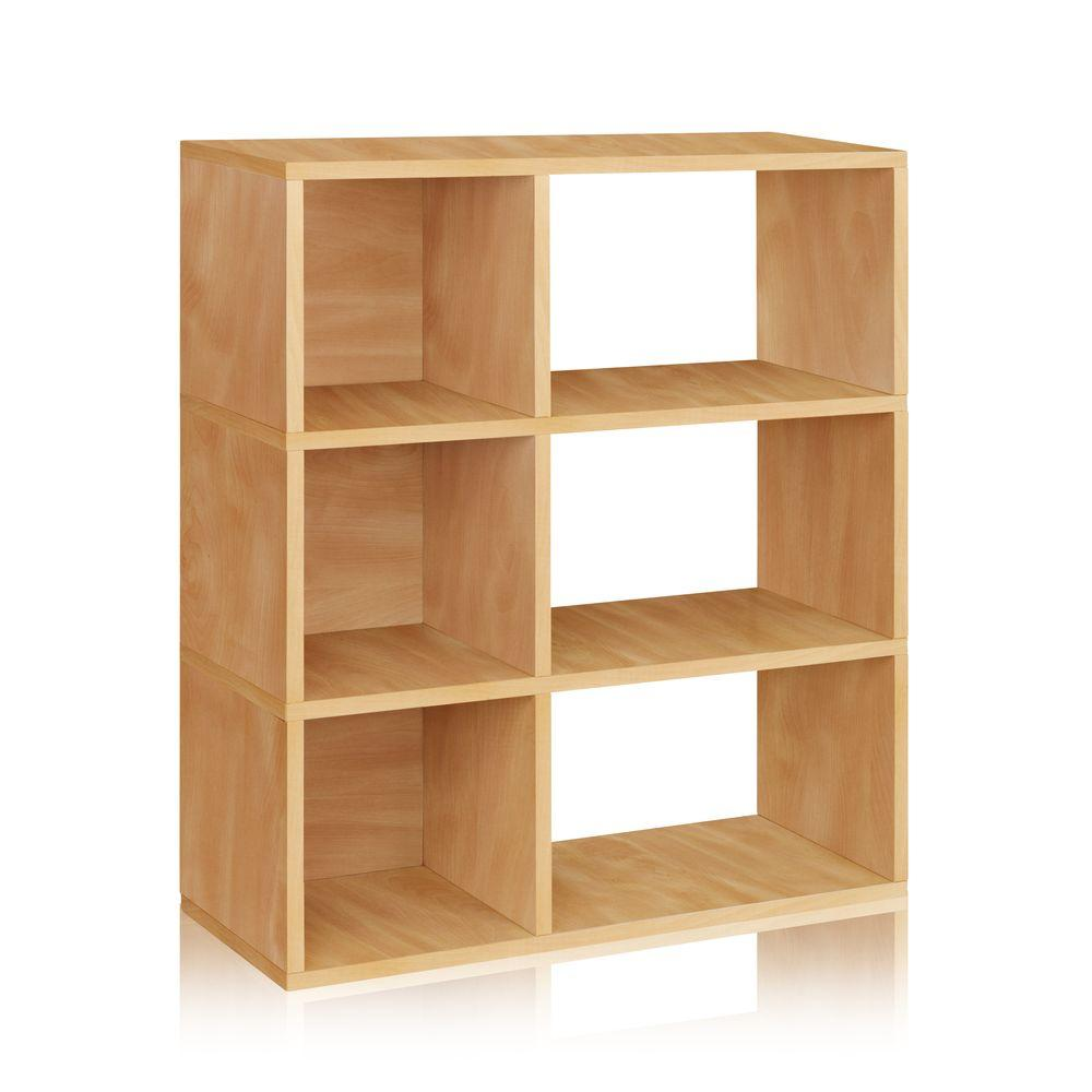 Way Basics zBoard Eco 32.1 in. x 36.8 in. Natural 3-Shelf Sutton Bookcase and Cubby Storage