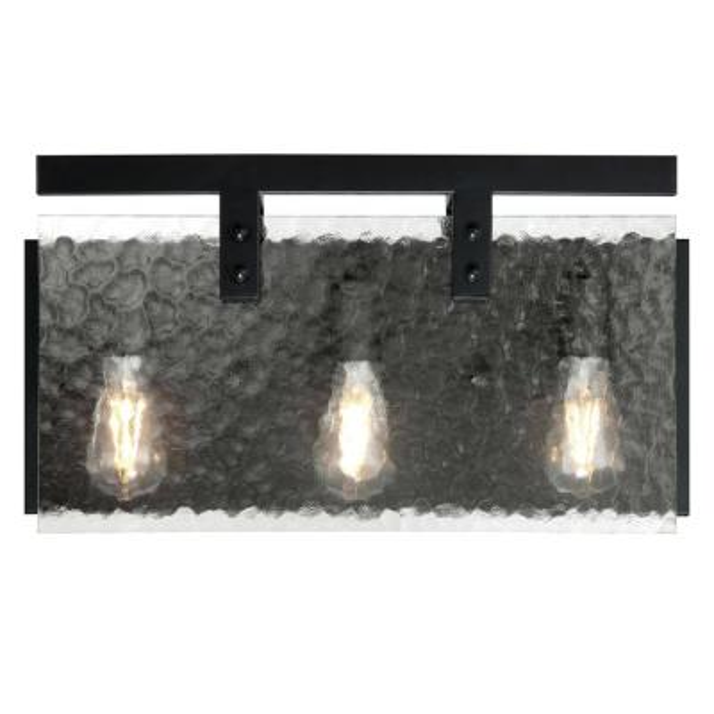 Zane 3-Light Matte Black Wall Mount Bath Light
