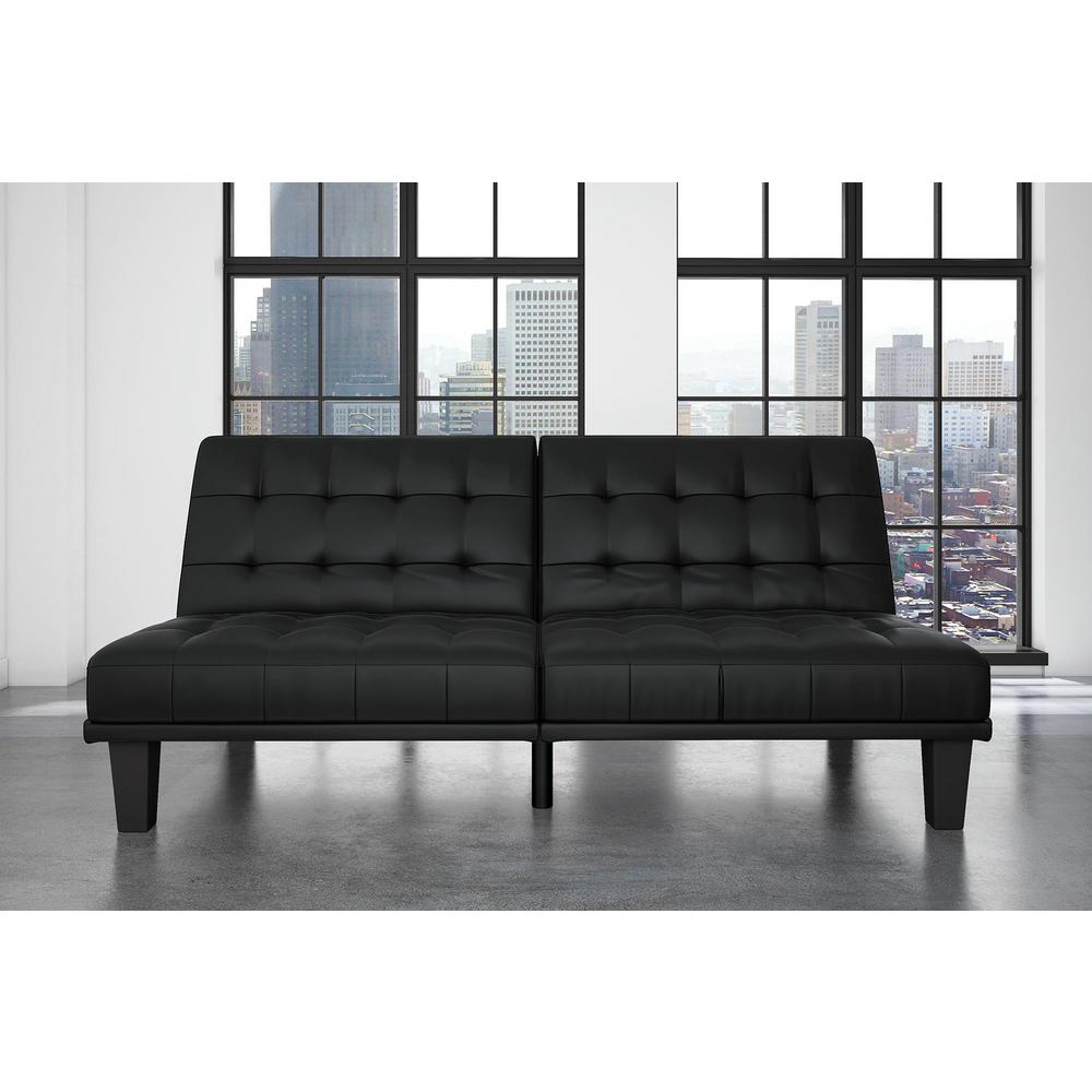 Dexter Black Faux Leather Twin Double Sleeper Futon And Lounger