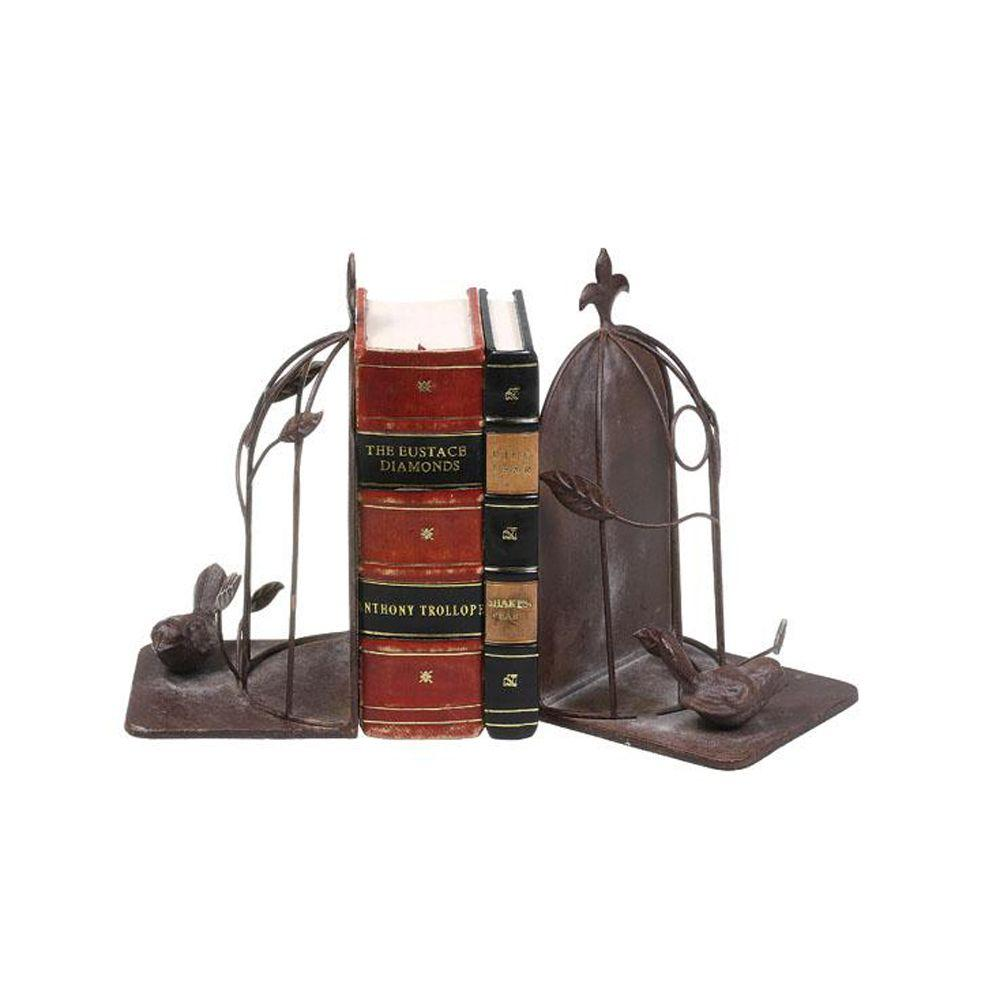 Home Decorators Collection 4.25 in. W Rust Sitting Bird Bookends (Set of 2)