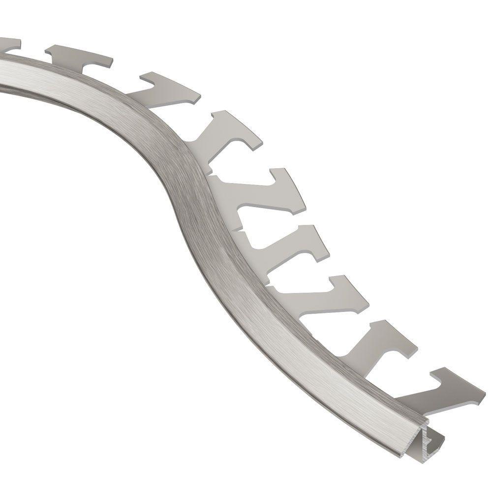 Schluter Reno-TK Brushed Nickel Anodized Aluminum 3/8 in. x 8 ft. 2-1/2 in. Metal Radius Reducer Tile Edging Trim