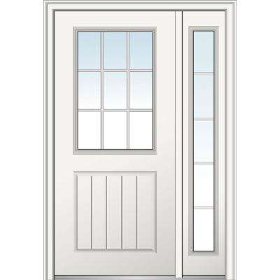 48 in. x 80 in. GBG 1/2 Lite 1-panel Right Hand Classic Primed Fiberglass Smooth Prehung Front Door with One Sidelite
