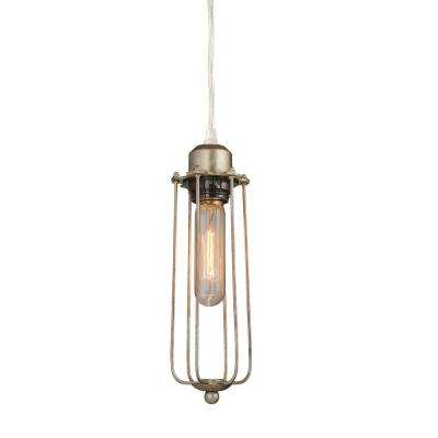1-Light Champagne Industrial Wire Cage Pendant