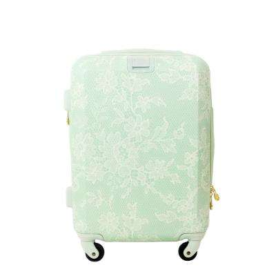Lace Texture Hard Sided 21 in. Mint Rolling Luggage Suitcase
