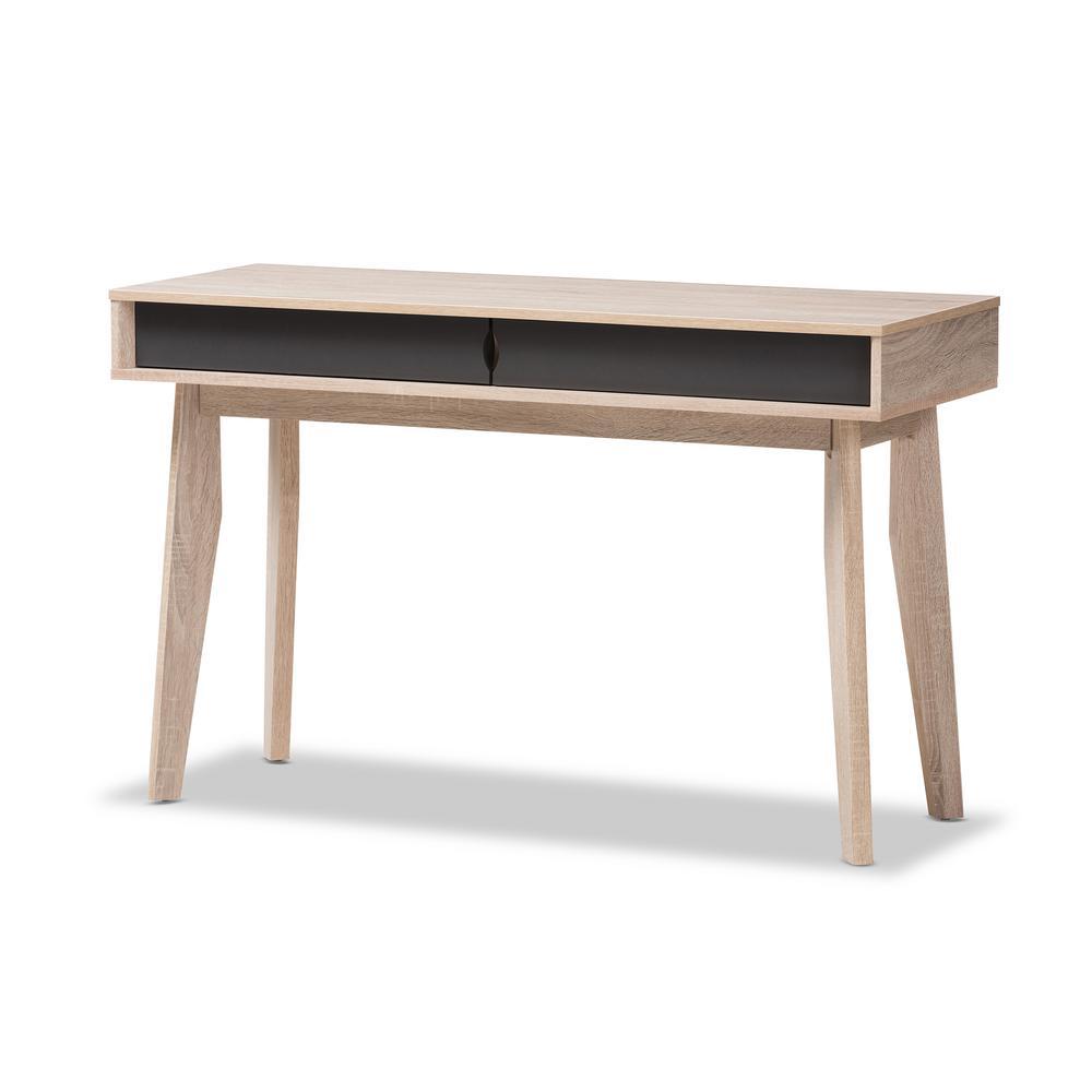 Baxton Studio 2 Drawer Fella Light Brown Wood Desk