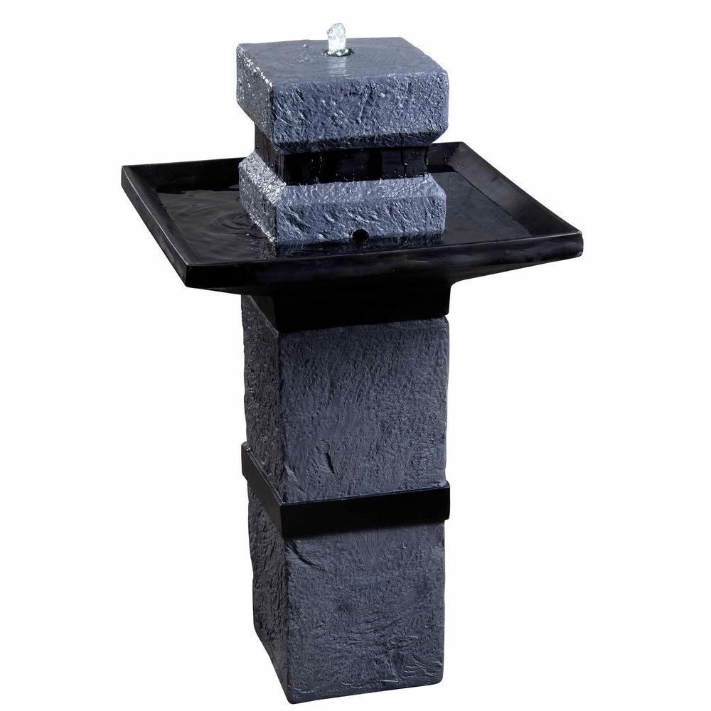 Kenroy Home Monolith 34 In. High Dark Stone Outdoor Solar Fountain