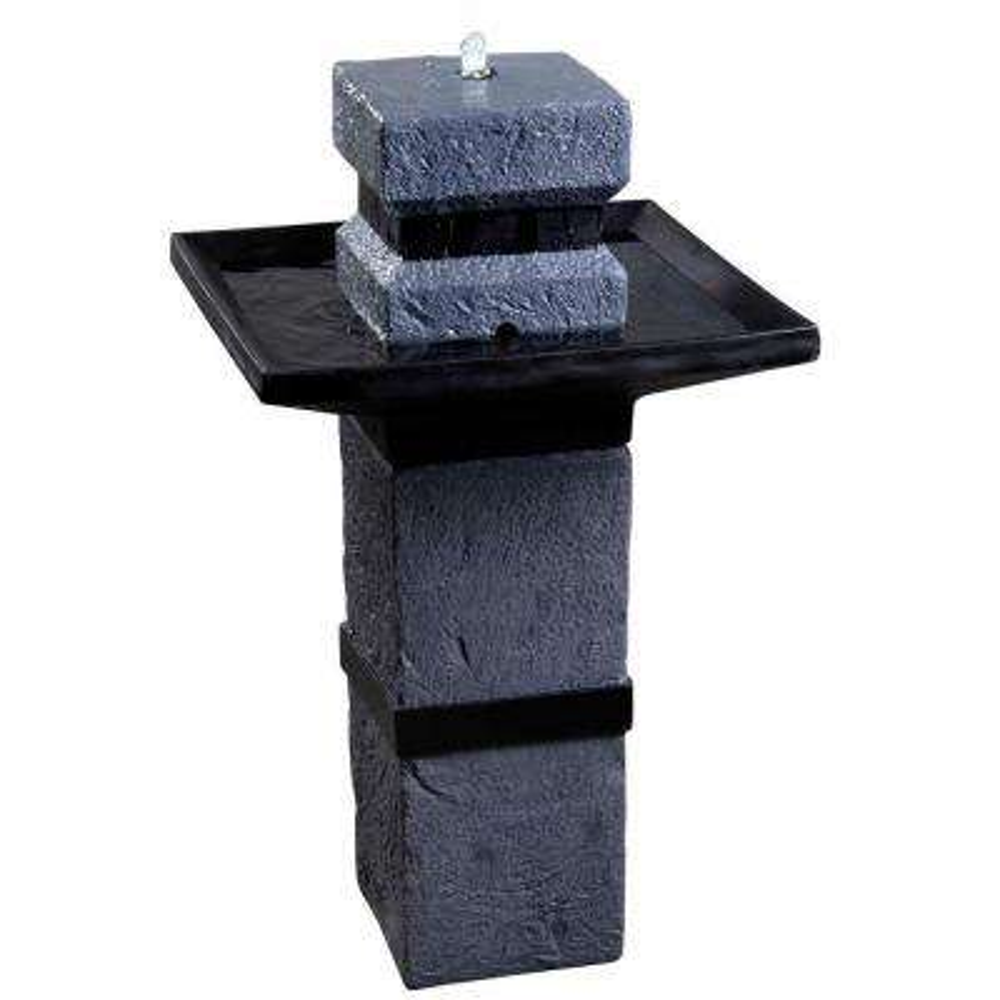 Monolith 34 in. High Dark Stone Outdoor Solar Fountain