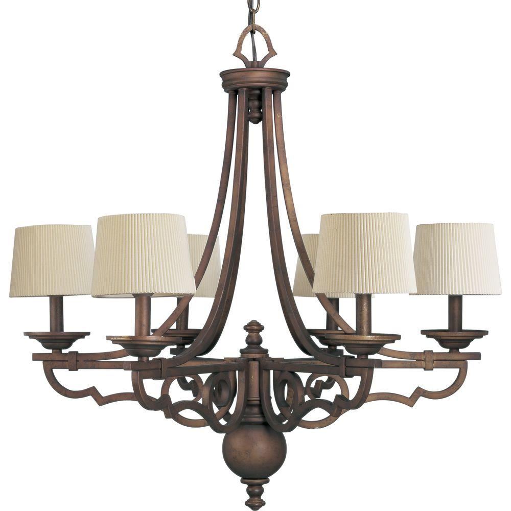 Progress Lighting Meeting Street Collection 6-Light Roasted Java Chandelier