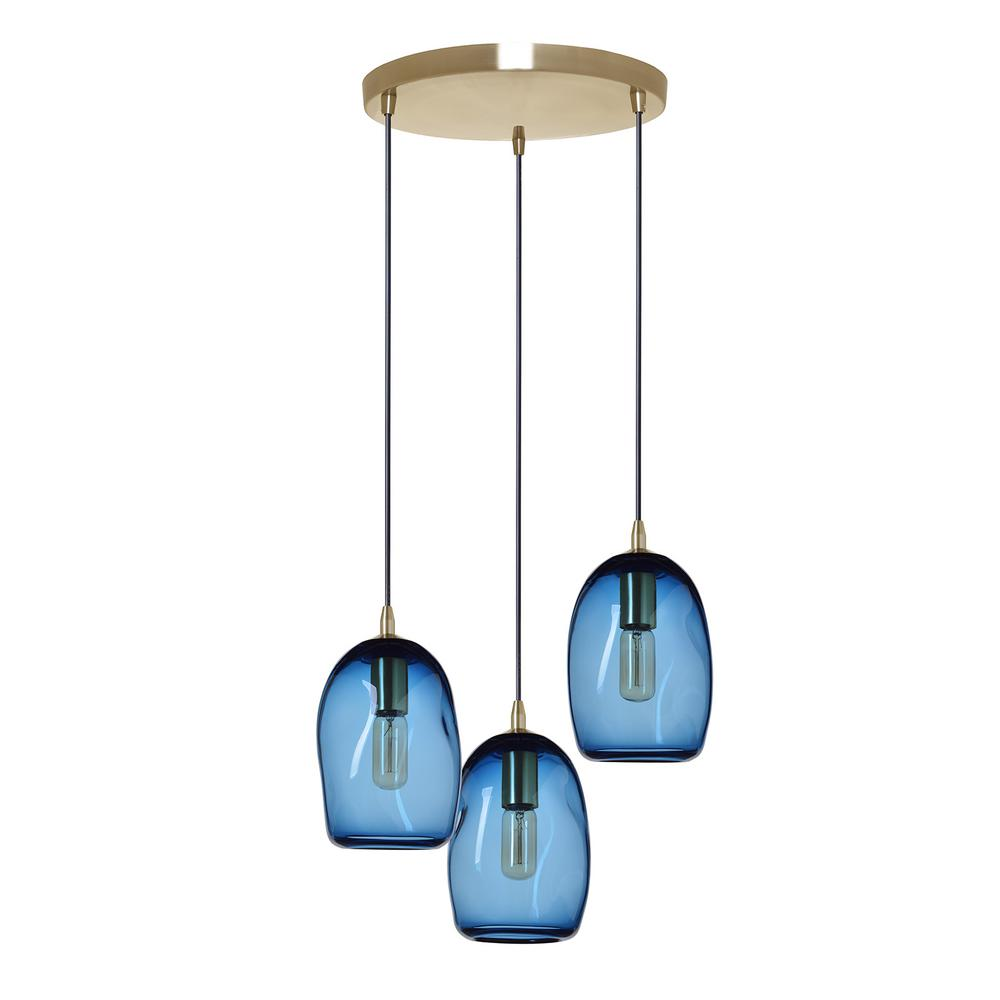 Casamotion 6 in. W x 9 in. H 3-Light Brass Organic Contemporary Hand Blown Glass Chandelier with Blue Glass Shades