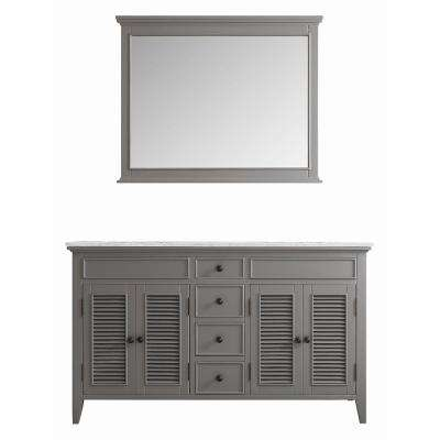 Piedmont 60 in. W x 23 in. D x 35 in. H Vanity In Grey with Marble Vanity Top in White with White Basin and Mirror