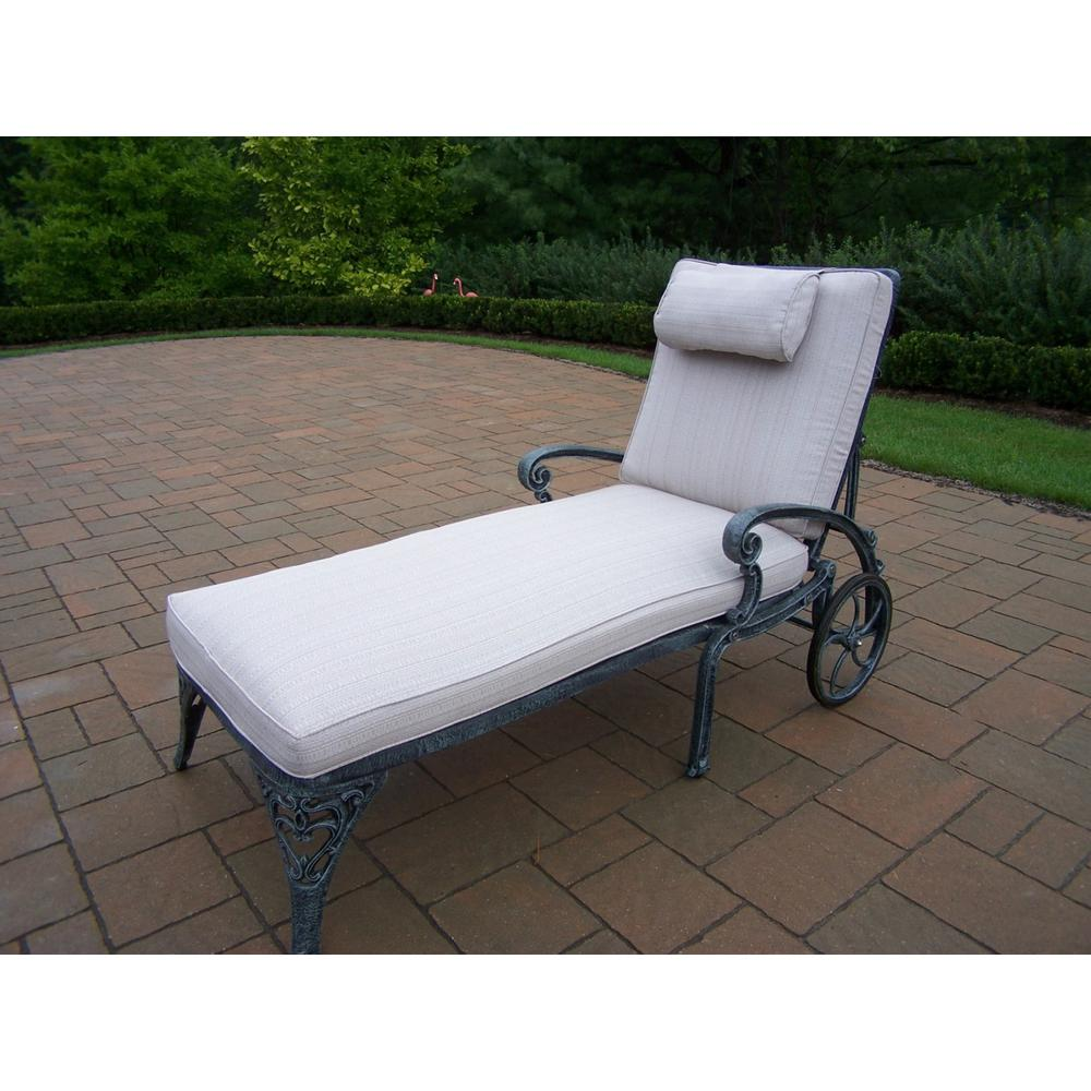 Mississippi Verdi Grey Aluminum Patio Chaise Lounge with Tan Cushions