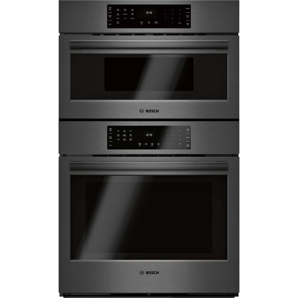 Bosch 800 Series 30 in. Combination Electric Wall Oven with European  Convection and Speed Microwave in Black Stainless Steel