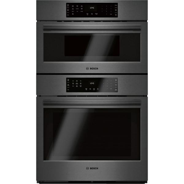 800 Series 30 in. Combination Electric Wall Oven with European Convection and Speed Microwave in Black Stainless Steel