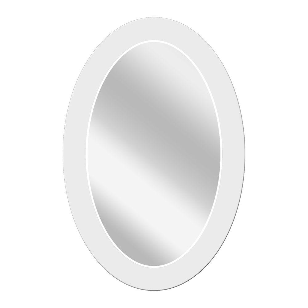 Deco Mirror 24 in. x 36 in. Large Frosted Oval Mirror