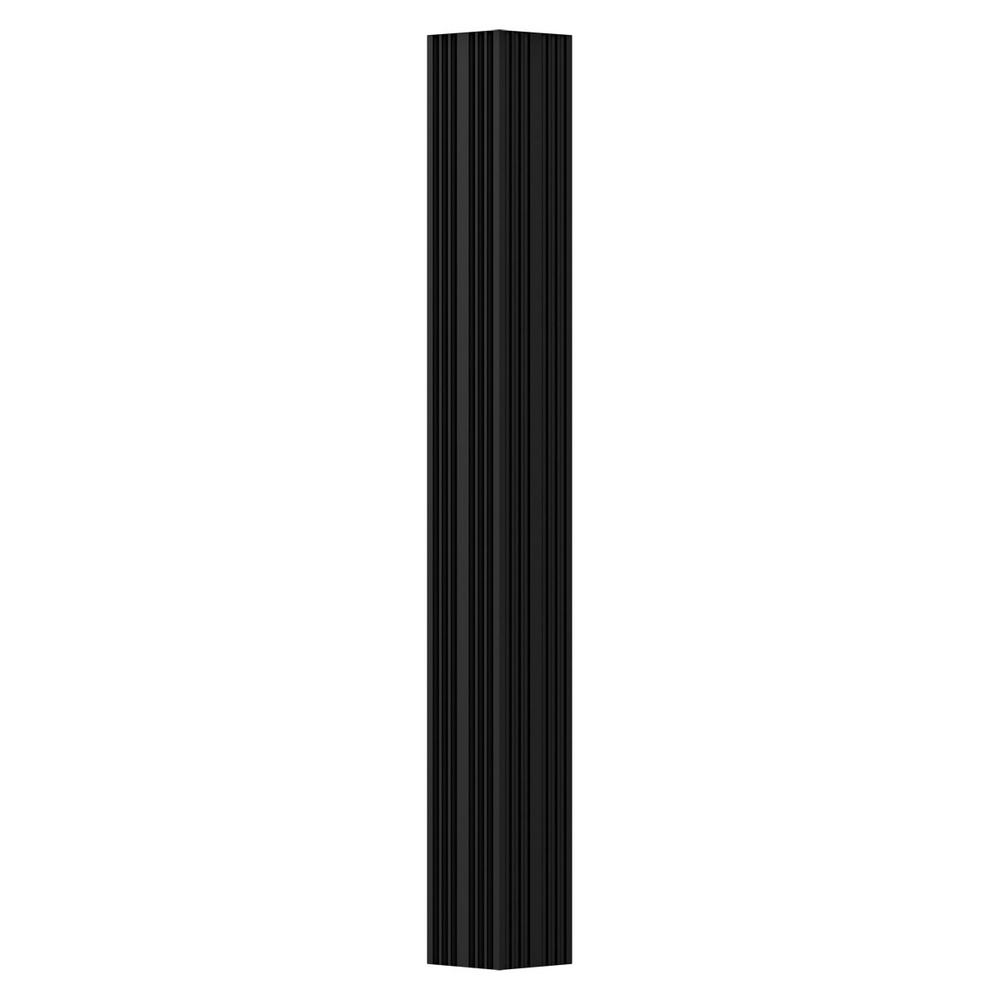3 in. x 9 ft. Textured Black Non-Tapered Fluted Square Shaft