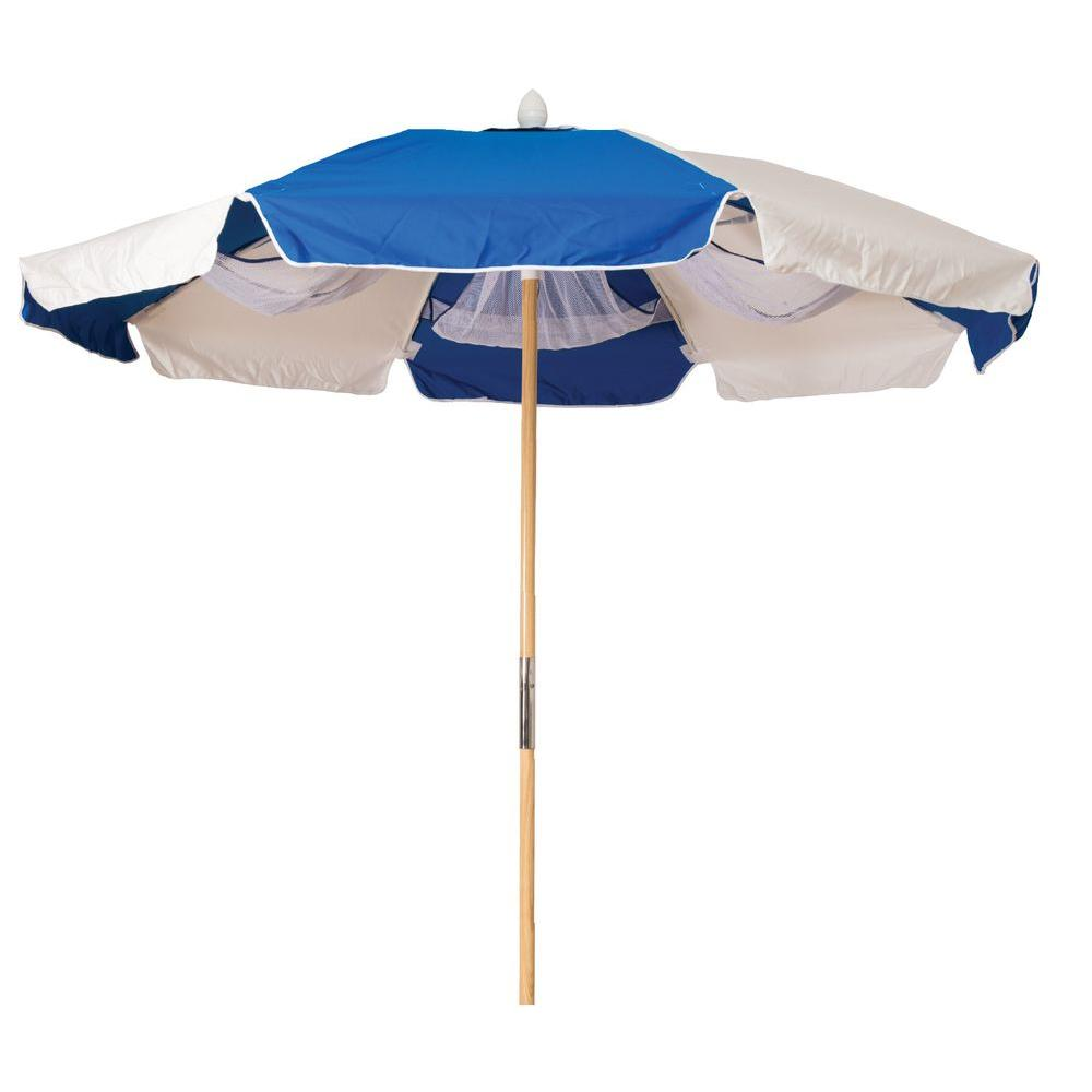 Buoy Beach 7 ft. Round Beach Patio Umbrella in Blue Stripe with Wood Pole-DISCONTINUED