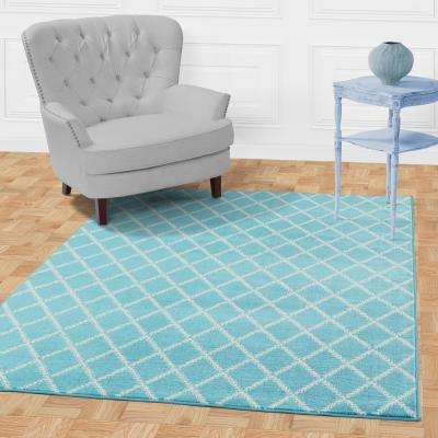 Jasmin Collection Blue and Ivory 5 ft. 3 in. x 7 ft. 3 in. Stripes Area Rug