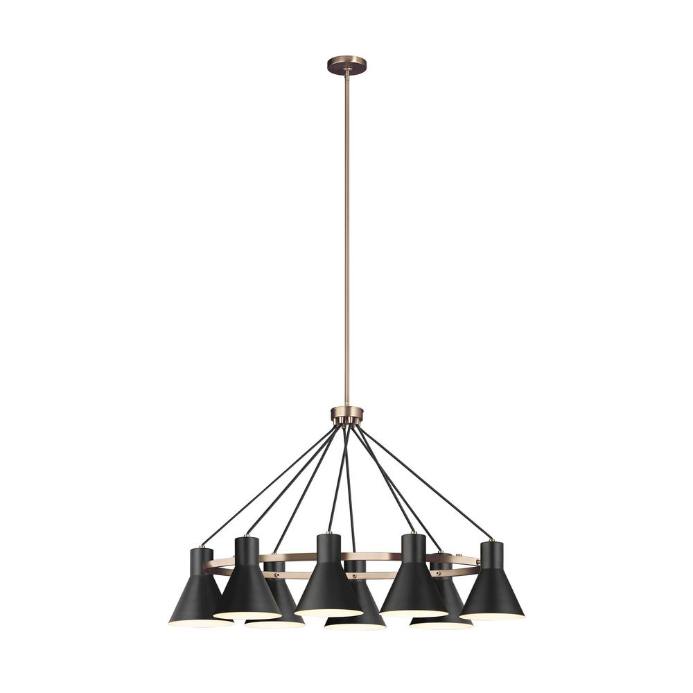 Sea Gull Lighting Towner 8-Light Black Shade with Satin Bronze Accents Chandelier with LED Bulbs
