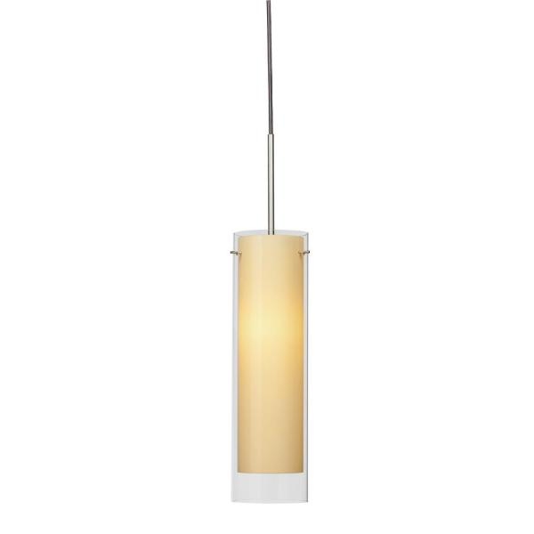 Afx View 10 Watt Integrated Led Satin Nickel Pendant With Glass Shade Vip1000l30d2sncr The Home Depot