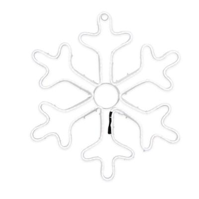 18 in. Neon Style LED Lighted White Snowflake Christmas Window Silhouette Decoration