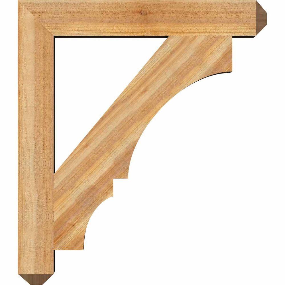 Ekena Millwork 4 In X 32 In X 28 In Western Red Cedar Balboa Craftsman Rough Sawn Bracket Bkt04x28x32boa04rwr The Home Depot