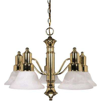 Koronis Gotham 5-Light Polished Brass Chandelier with Alabaster Glass