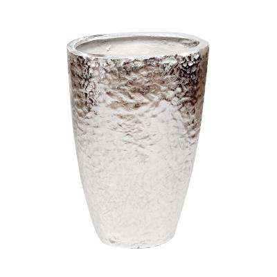 Hammered Silver Metal Tapered Decorative Vase
