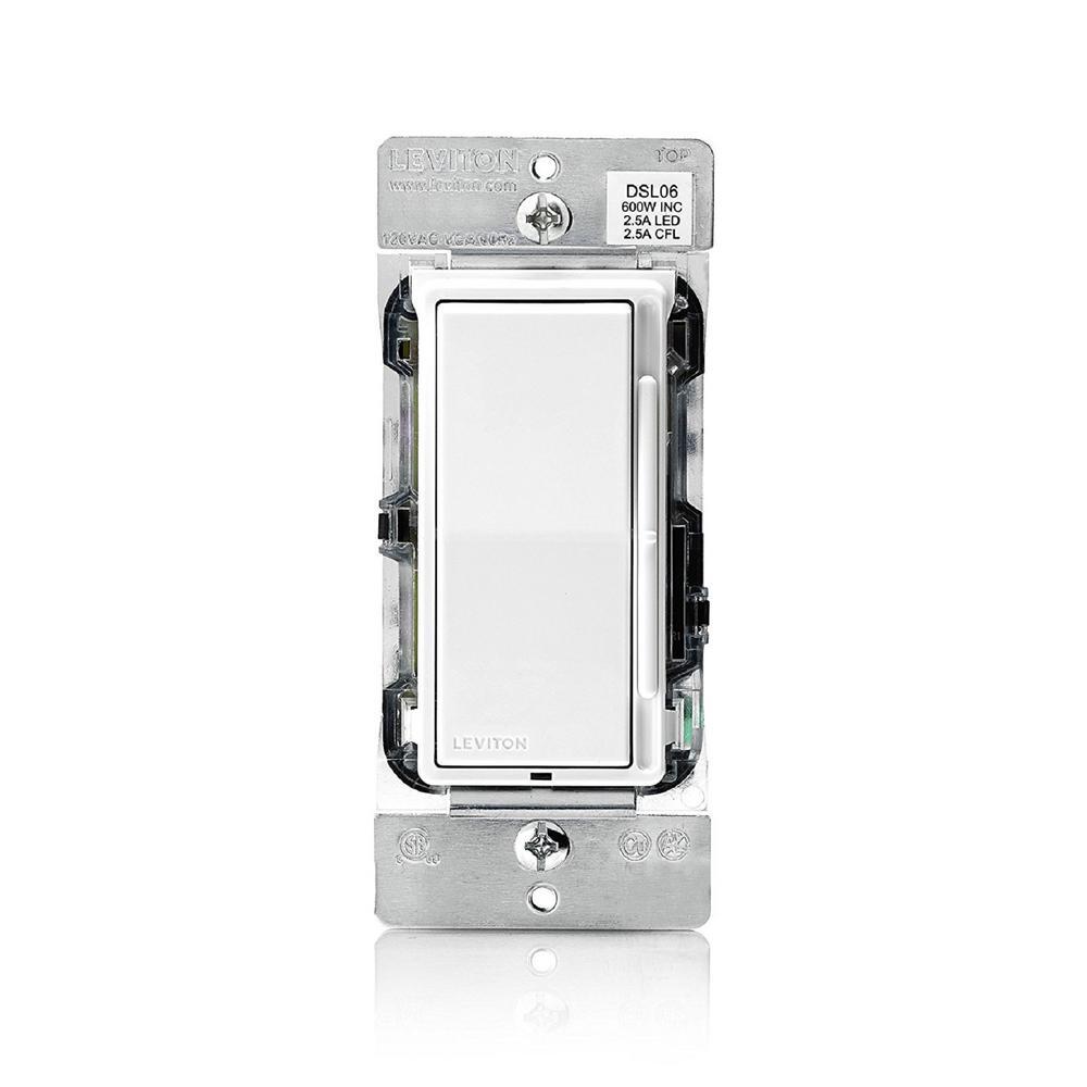 Decora 300-Watt LED and CFL/600-Watt Incandescent Single Pole/3-Way Universal Rocker Slide Dimmer, White (2-Pack)